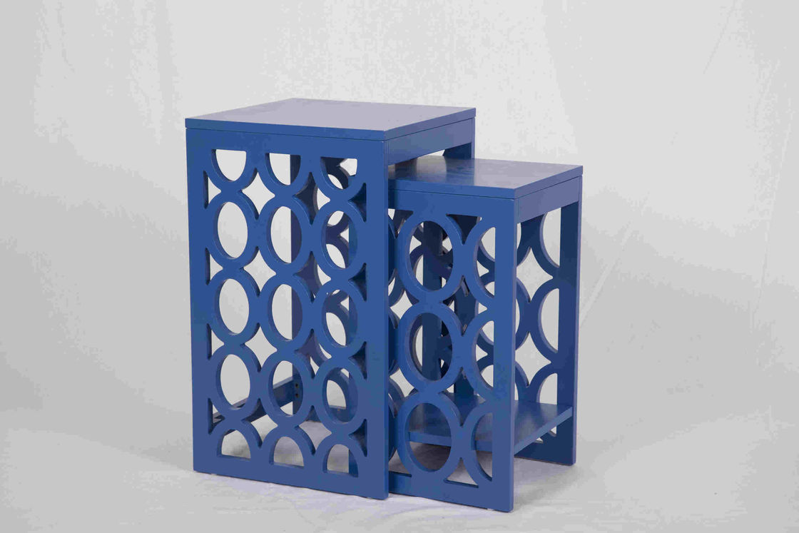 Blue Modern Nesting Tables , Ergonomic Wooden Bedside Table 58 Cm Height