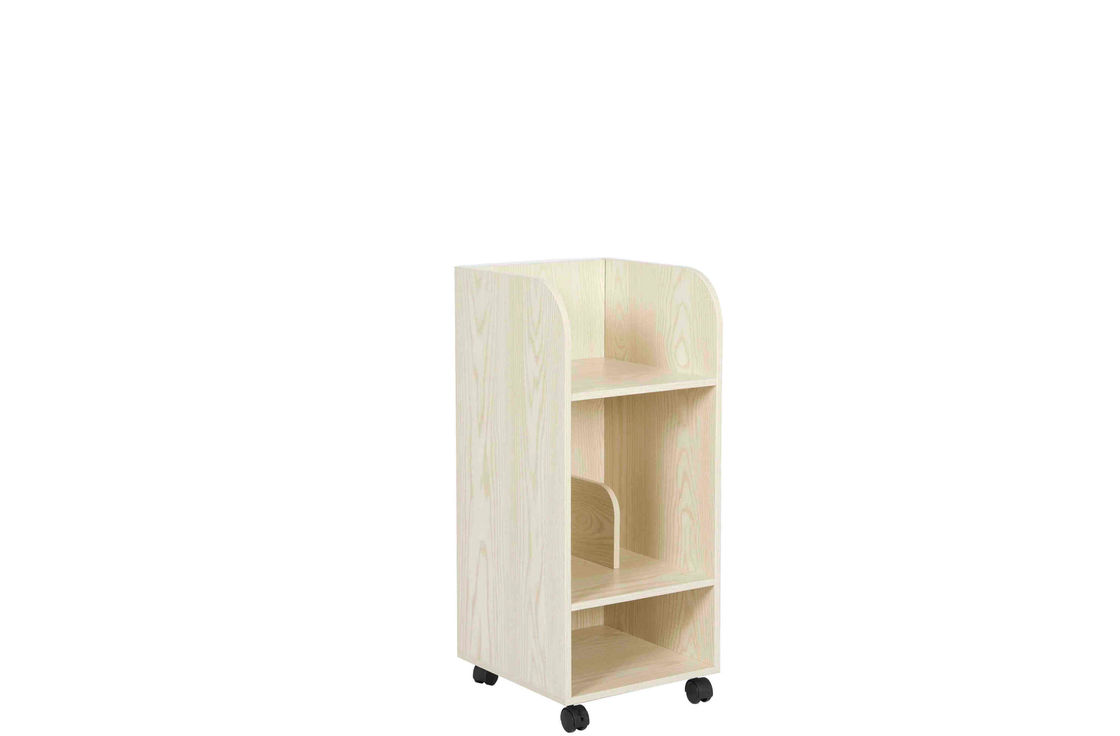 Children Home Office Wooden Book Rack White Oak Particle Board With Wheels